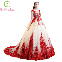 SSYFashion New High end Red Lace Flower Prom Dress The Bride Luxury Romantic Photography Appliques with Beading Party Ball Gown
