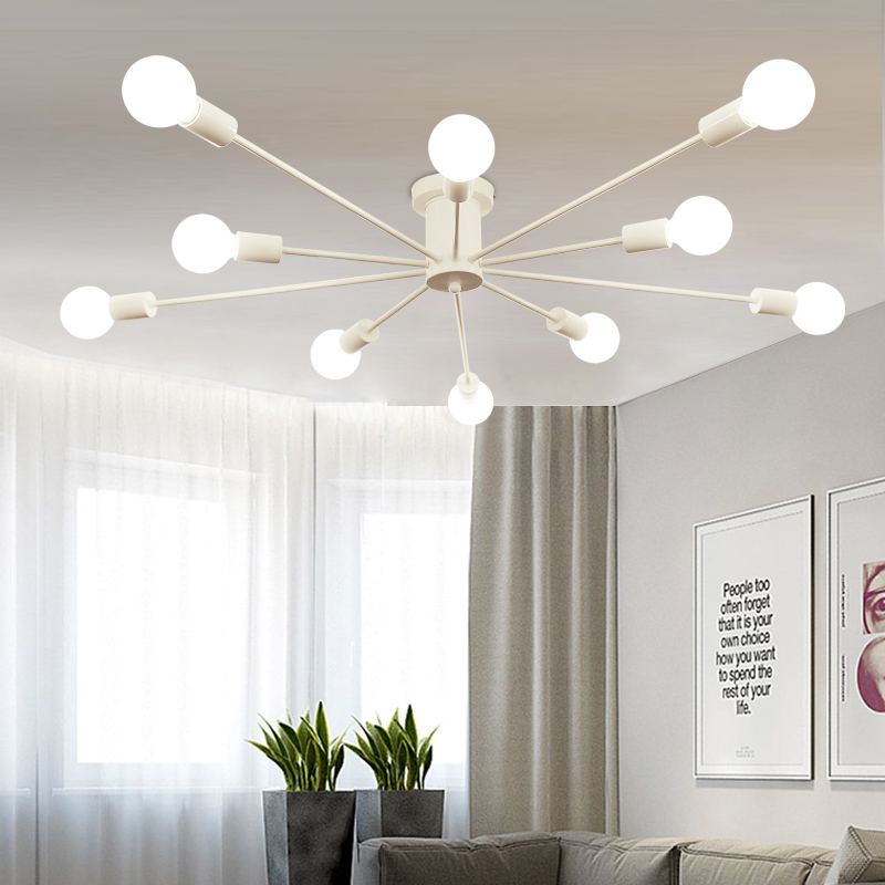 Nordic LED ceiling light modern iron art study living room bedroom personalized restaura ...