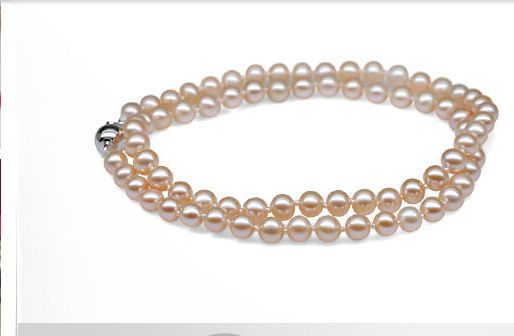 gorgeous round 9-10mm south sea gold pink pearl necklace18inch