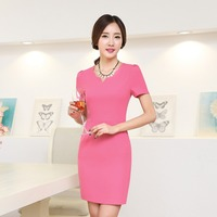 Women Work Wear Formal Dress To Work Office Business Party Slim Sheath Asymmetrical Neck Solid Short