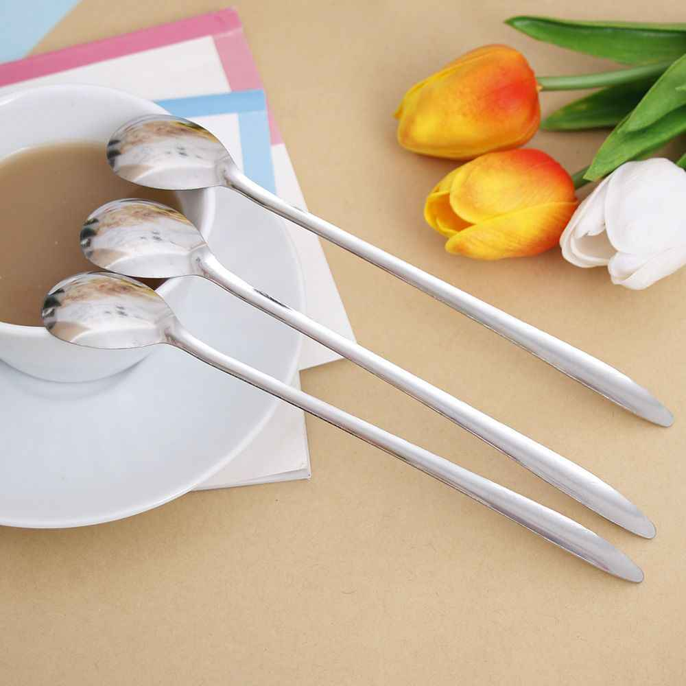 Long Handled Coffee Scoop Stirring Spoon Stainless Steel Ice Cream Dessert Tea Spoon Kitchen Flatware Accessories Picnic Spoon