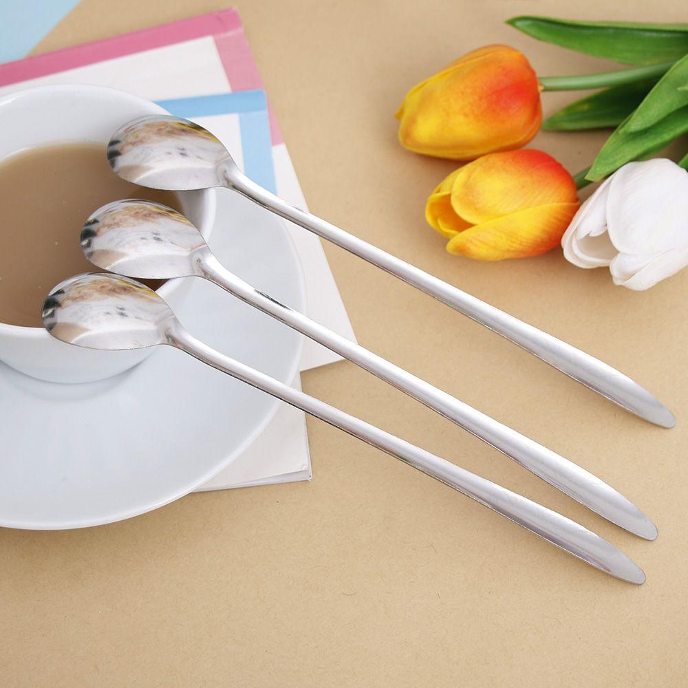 Long Handled Coffee Scoop Stirring Spoon Stainless Steel Ice Cream Dessert Tea Spoon Kitchen Flatware Accessories Picnic Spoon