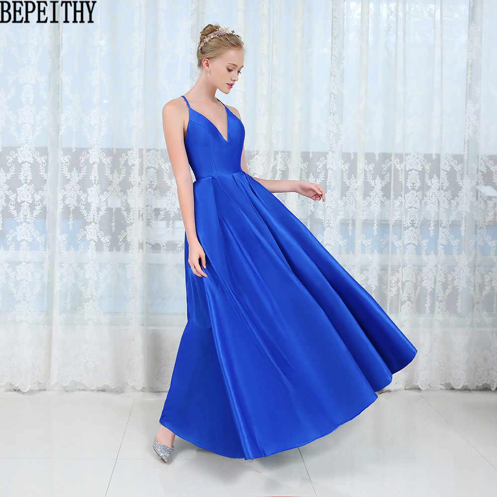 61de75363d6c4 BEPEITHY vestido de festa NeW Sexy Deep V Neck Prom Dresses 2019 Simple  Blue Dress Long Evening Gown Evening Dresses