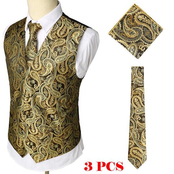 Мужские Классические Вечерние жаккардовые жилеты в клетку с узором пейсли и цветочным принтом, 3 предмета в комплекте(жилет с квадратным карманом и галстуком - Цвет: Gold