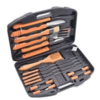 18PCS BBQ Grill Tools Set Complete BBQ Accessories Extra Thick Stainless Steel Spatula, Fork& Tongs