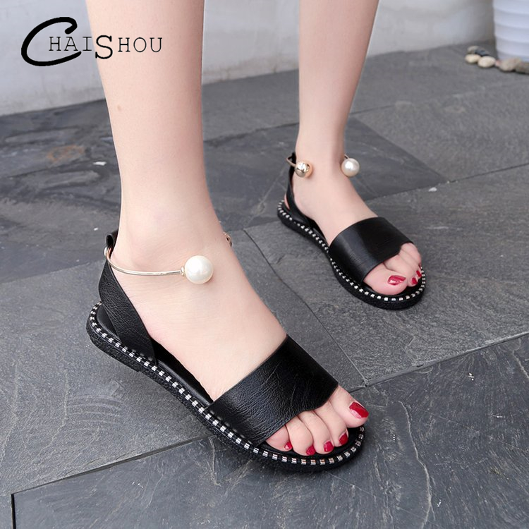 2018 summer new women Shoes fashion sexy Woman Shoes Beaded Female Casual Flat Ankle Strap Women Sandals lady shoes Plus Size 40 women casual shoes 2018 new arrival women s fashion air mesh summer shoes female slip on plus size 35 40 shoes footwear 707w