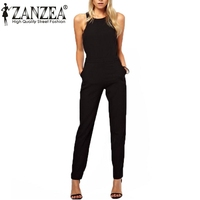 Plus Size Overalls Summer Style 2015 Women Casual Black Back Zipper Hollow Sleeveless Long Playsuits Rompers