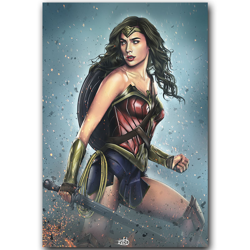 Wonder Woman Super Hero Movie Art Silk Poster Print 30x45cm 60x90cm Movie Pictures Poster Living Room Decor