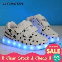 CCTWINS KIDS 2017 Child Kid Boy Fashion White Flat Toddler Glowing Light USB Shoe Baby Girl Pu Leather Sport Led Sneaker F1411