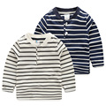 Baby spring 2017 New Boys Striped T-shirt Korean kids children casual long shirt tx-7595