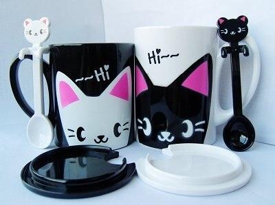 Plastic Couple Cartoon Animal Cat Mugs Cups Lid Spoon Retail - Shenzhen Technology Co..Ltd store