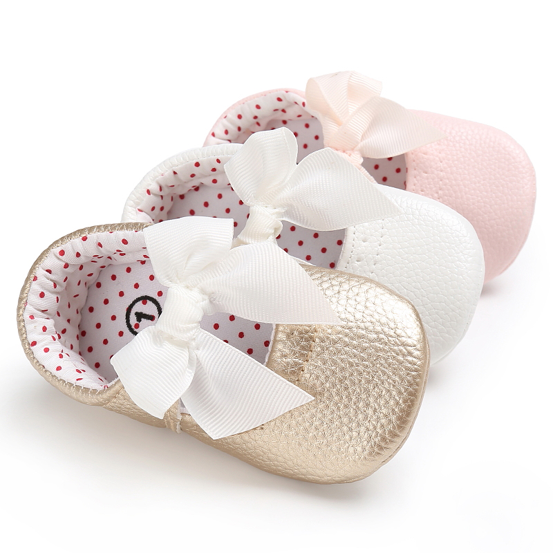2018 New Slip-on Bowknot Toddler Baby girl Leather Shoes 1 year Soft First Walkers Fashion Princess Birthday Party Flat shoes