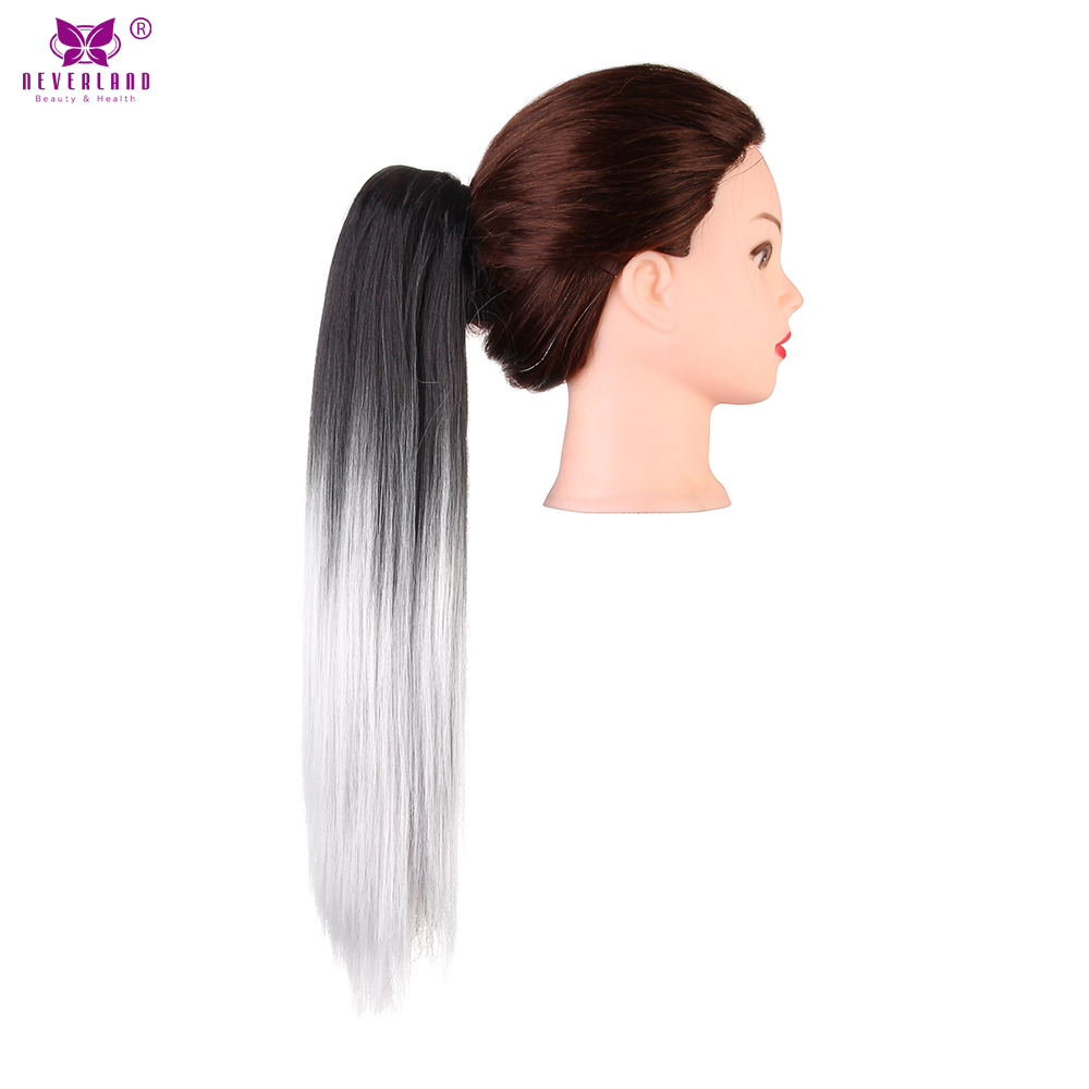 Neverland 20 synthetic straight ombre ponytail extension pony neverland 20 synthetic straight ombre ponytail extension pony tail claw clip hair extension hair pieces black to silver grey in underwear from mother pmusecretfo Image collections