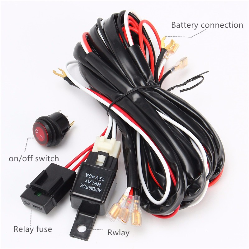 Cable Lines Offroad LED Driving Light Bar 14V 40A 300W Extention Wire Relay Fog Lamp Wiring Loom Harness Kit Fuse Power Off 4x4