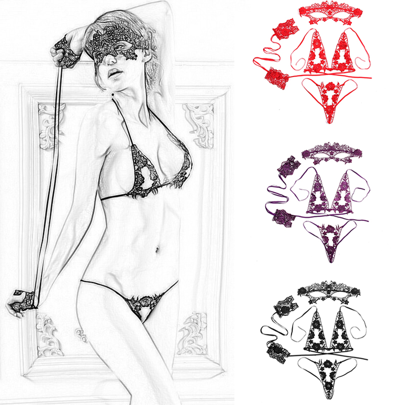 4Pcs/  Set   Sexy Lingerie Lace Babydoll   Bra     Set  +Handcuffs+Eye Mask Black Lenceria Plus Size Women Underwear   Set     Bra   And Panty   Set