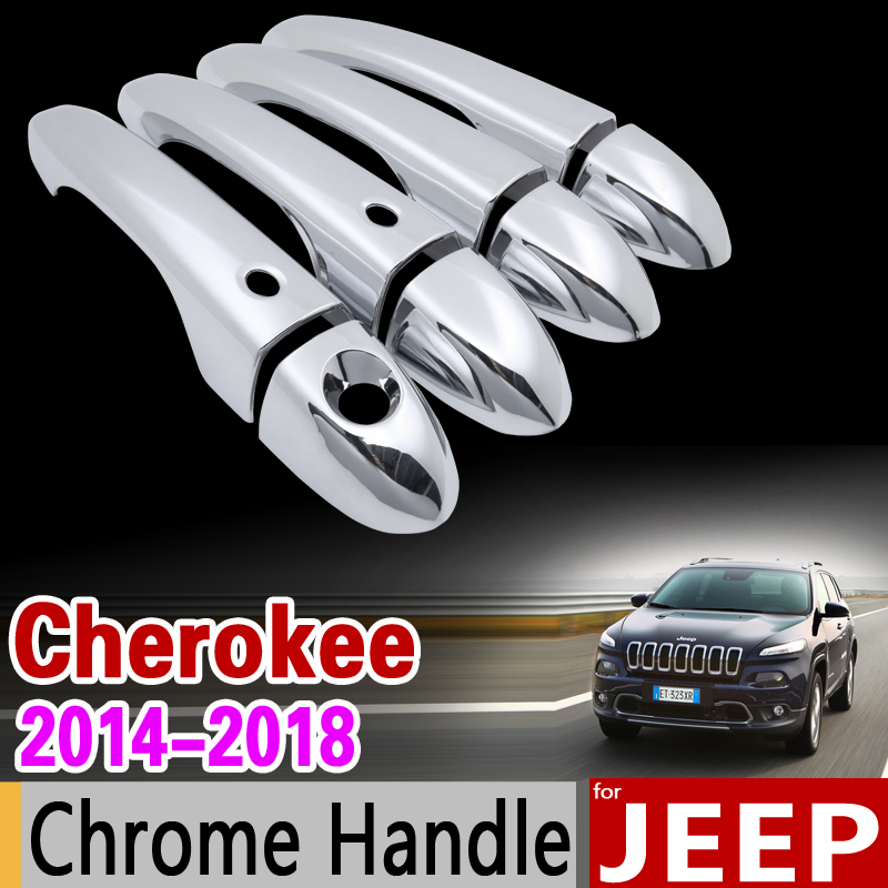 for JEEP Cherokee KL Luxurious Chrome Door Handle Cover Trim Set 2014 2015 2016 2017 2018 Accessories Stickers Car Styling