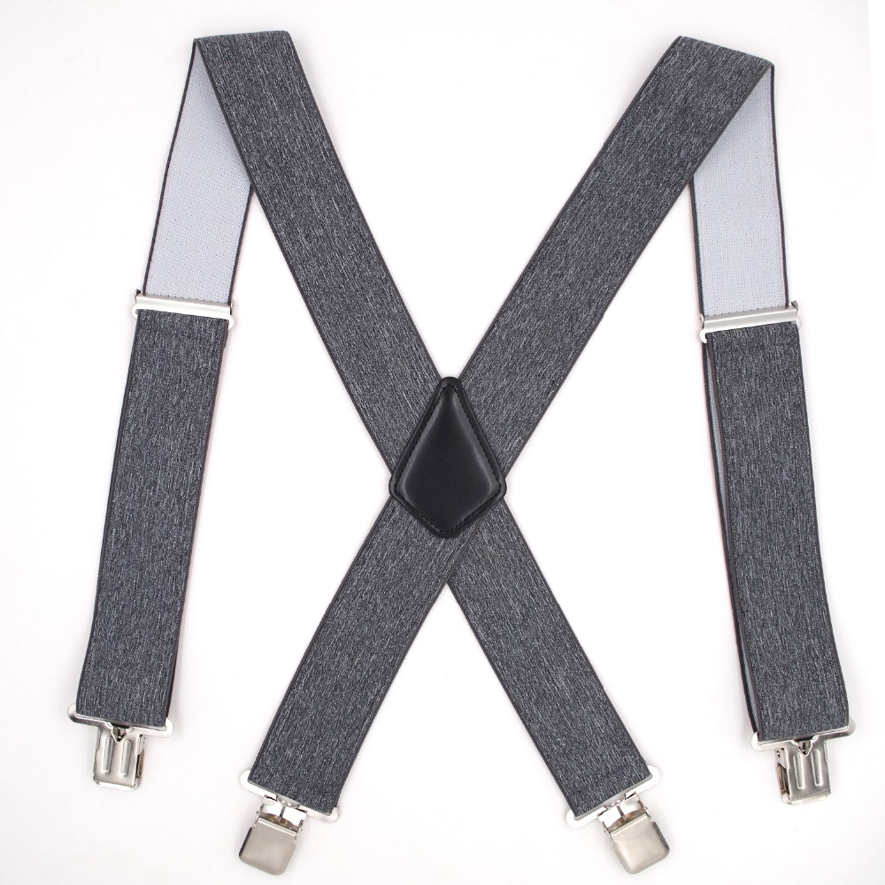 New 5.0cm Suspenders Fashion 4 Clips Braces Elastic Adjustable Suspensorio Bretelles Tirantes Casual Trousers Ligas Cowboy