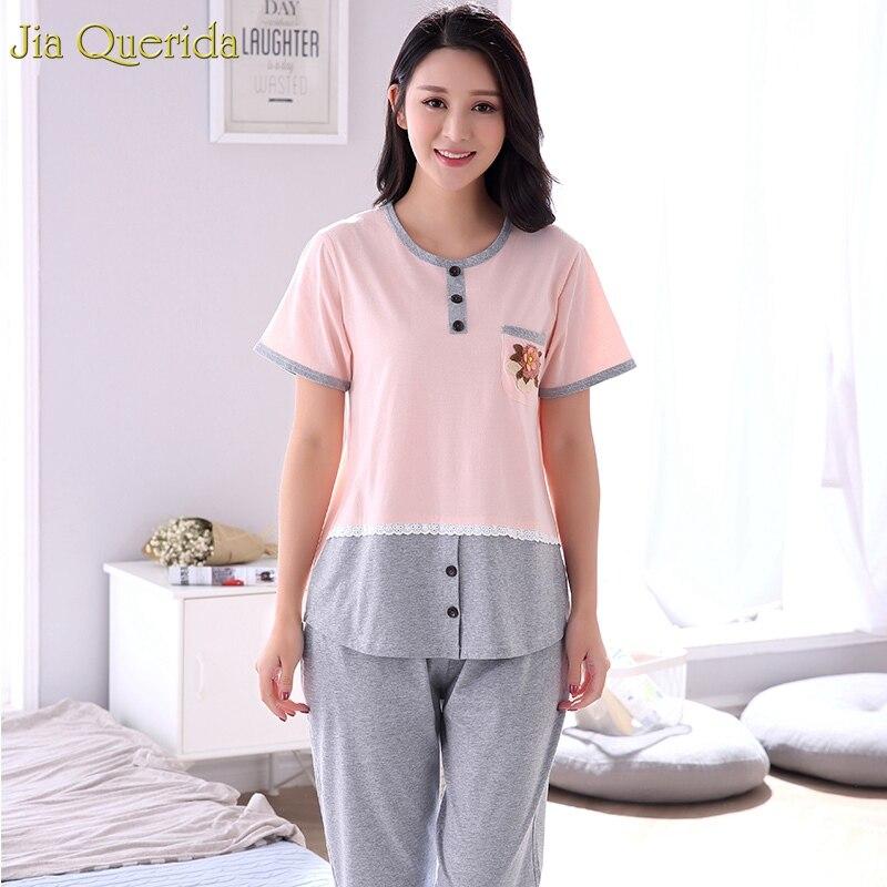 Women Sleeping Wear   Set   100% Soft Cotton   Pajama   2019 Summer New Woman Home Clothes Plus Size Xxxl 4xl Big Size Women   Pajamas     Set