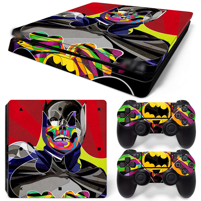 Free Drop Shipping Skull BatMan for Ps4 Slim Skin Stickers For Playstation 4 Slim PS4 Slim Console 2 Pcs Vinyl decal Skin