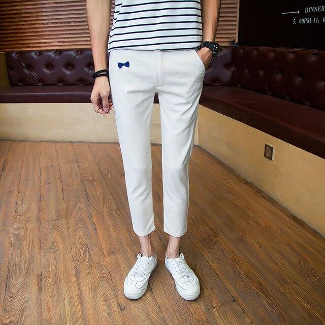 be0e1c7f553185 Men Ankle-length Pants Summer Casual Capri Elegant Khaki Trousers White  Pants Men Chinos Short Homme Zipper Pantalon Homme 8153F