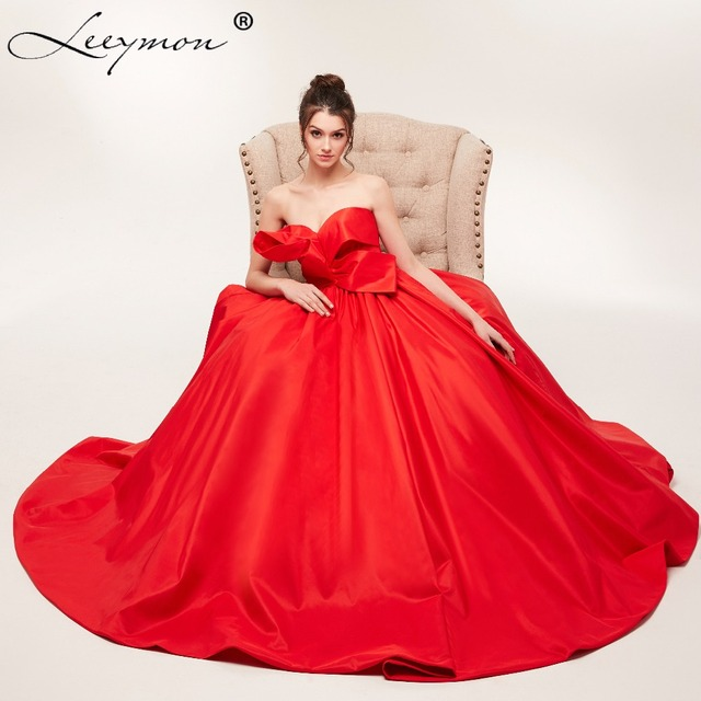 Plus Size Red Strapless Prom Dress A Line Taffeta Dress with Bow ...