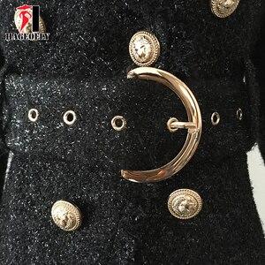 Image 5 - Blazer negro de invierno de alta calidad para mujer, chaqueta de abrigo corta delgada con doble botón dorado y cinturón de lana brillante, traje de oficina, Blazer para mujer