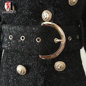 Image 5 - Di Alta Qualità di Inverno Blazer Nero Delle Donne Pulsante Doppio Oro Lucido Cintura di Lana Sottile Cappotto di Short Della Giacca Ufficio Vestito Giacche Feminino