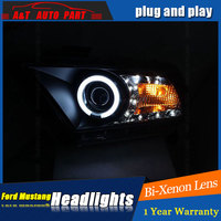 car Styling LED Head Lamp for Ford Mustang led headlights 2010 2011 2012 for Mustang drl H7 hid Bi Xenon Lens angel eye low beam