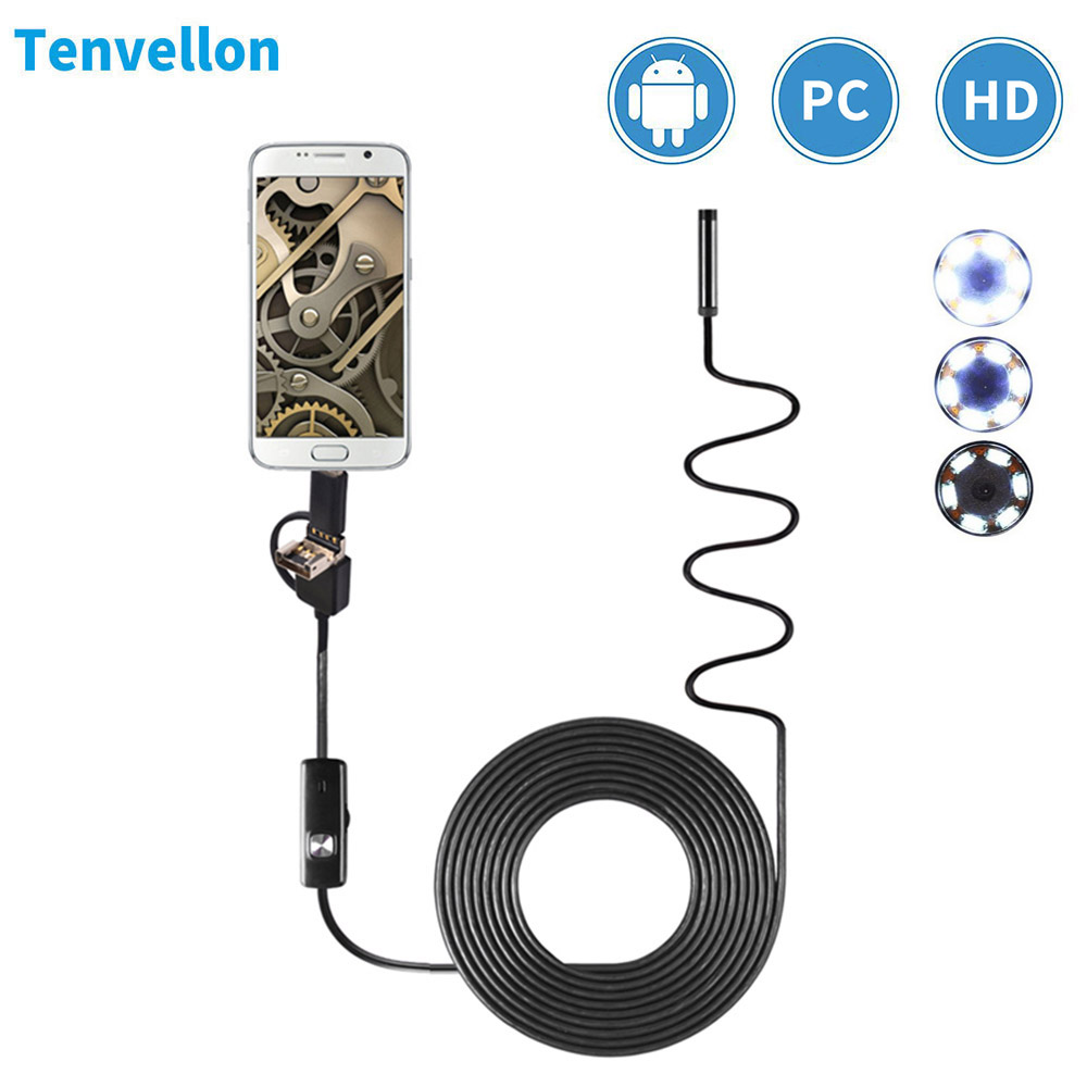 Endoscópio 8 milímetros HD Mini Endoscópio Android Micro Tipo C 3 em 1 Flexível Endoscópio Inspeção À Prova D' Água Para PC Android endoscopio