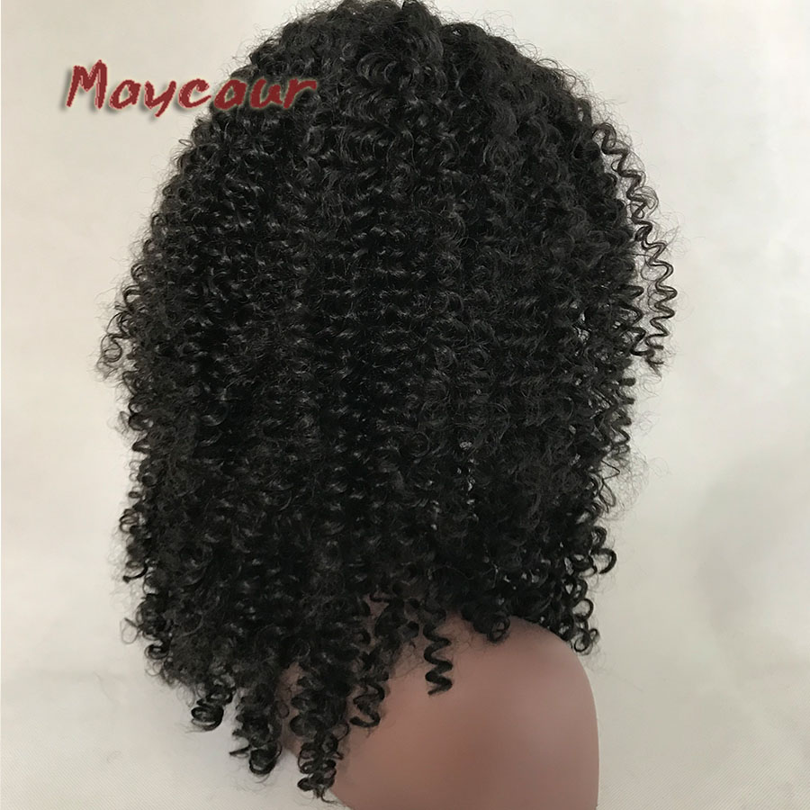 Image 4 - 180% Density Wigs Black Long Curly Hair Glueless Synthetic Wigs For Black Women Free Bangs Full Machine Made-in Synthetic Lace Wigs from Hair Extensions & Wigs