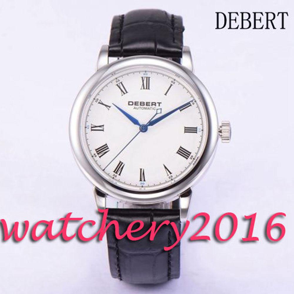 40mm Debert white dial stainless steel case blue hands automatic movement Men's WristWatch коньки onlitop 223f 37 40 blue 806164
