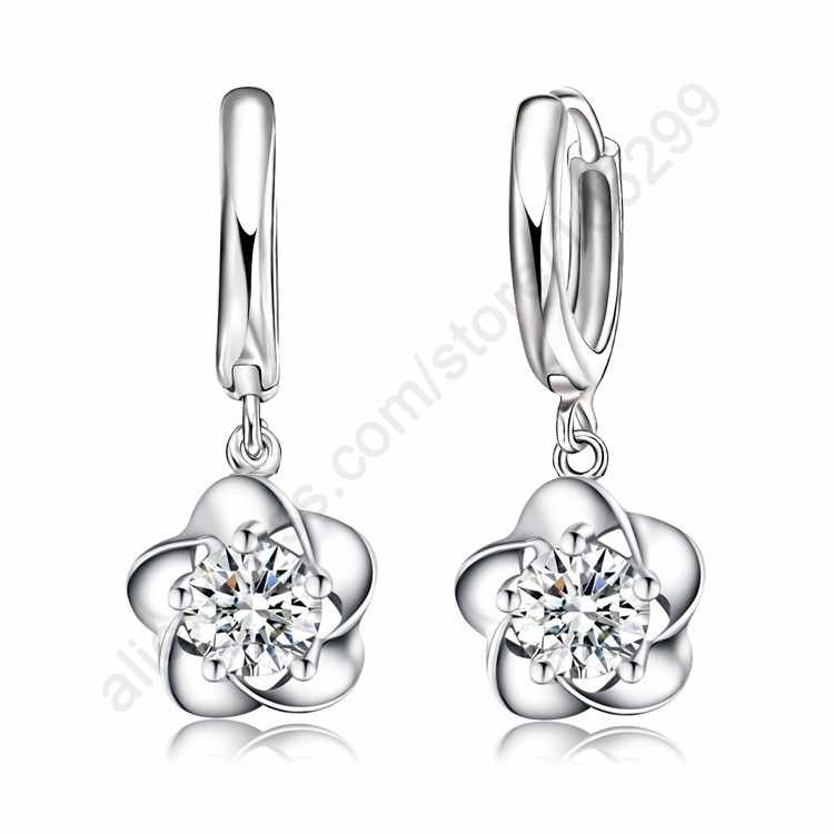 Nice Classic Fine Jewelry For Woman Wedding Lever Back Loop Earrings Pure 925 Sterling Silver Exquisite Flower Party Gift