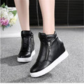 High Tops Shoes Breathable Platform  Casual Shoes Silver White Shoes Women's Elevator Shoes 2017 Spring Summer Wedge Heels
