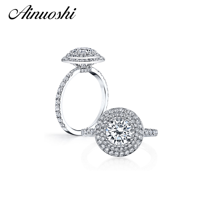 AINOUSHI 2 Carat Two Halo Ring 925 Sterling Silver Round Cut Sona Romantic Engagement Wedding Ring