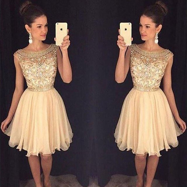 e2deb9bd757 2019 Champagne Sparkly Short Prom Cocktail Dresses Cute Beaded A-line Knee  Length Bling Cocktail Party Dresses Robe De Cocktail