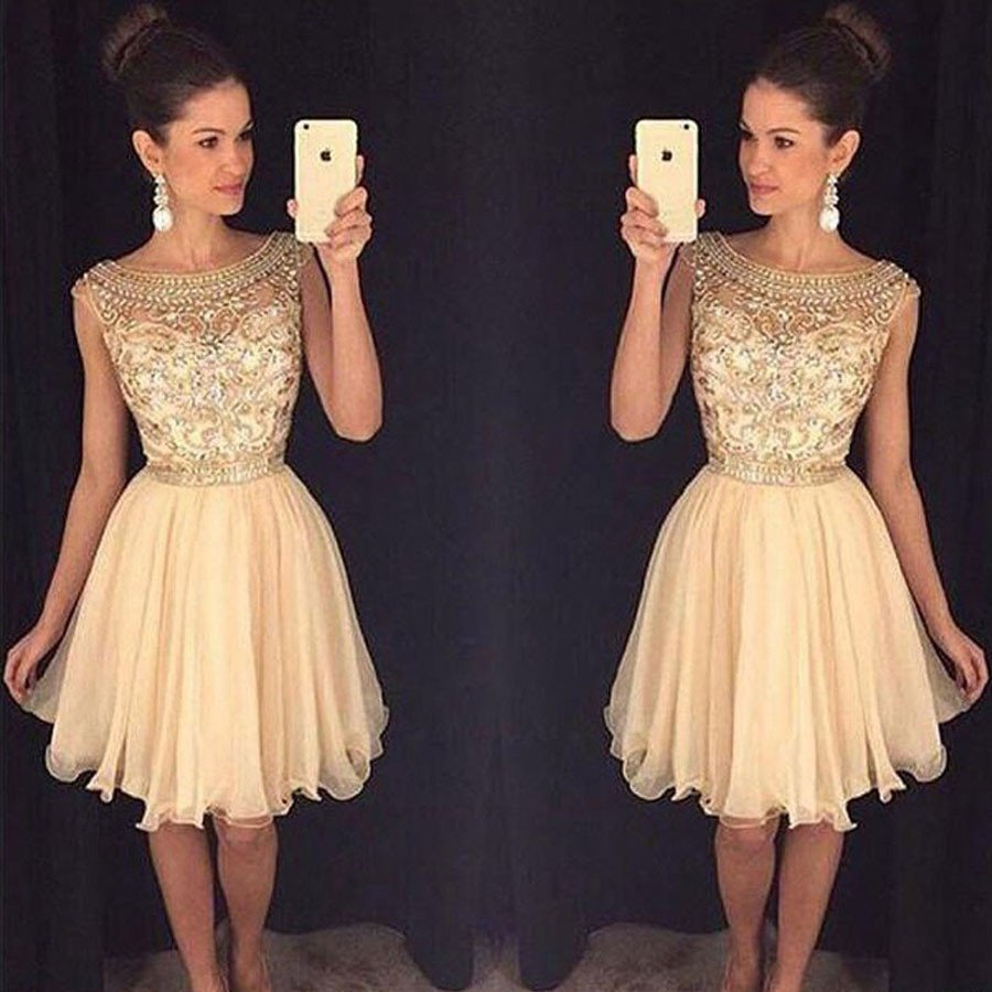 2019 Champagne Sparkly Short Prom   Cocktail     Dresses   Cute Beaded A-line Knee Length Bling   Cocktail   Party   Dresses   Robe De   Cocktail