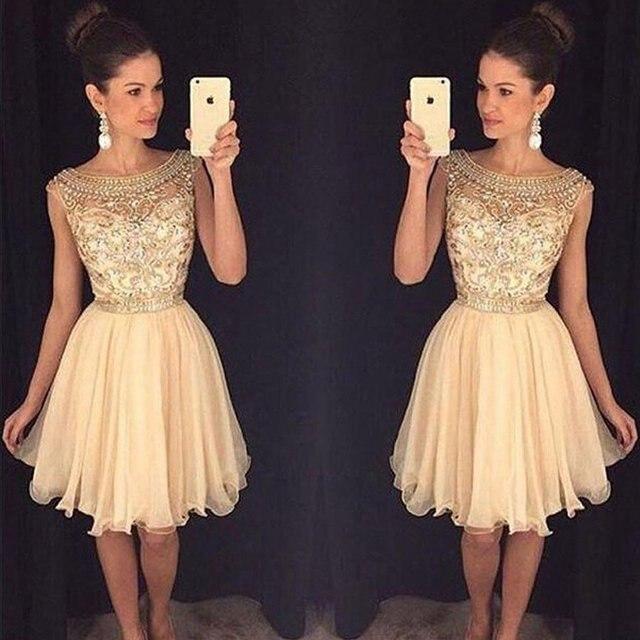 02840fded 2019 Champagne brillante corto De baile cóctel vestidos con cuentas vestido  De longitud De la rodilla