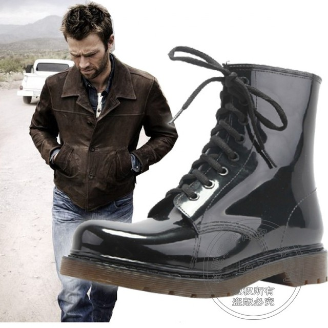 Waterproof Rubber Flat Black Anti Slip High Top Wellies Solid Large Size Ankle Lace Up Male Water Fashion Summer Boots Wading
