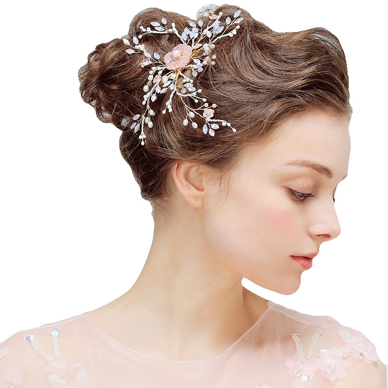 Hot Selling Bridal Hair Jewelry Hairpin Pink Flower Crystal Wedding Hair Accessories Romantic Cute Handmade Bridal Headpiece