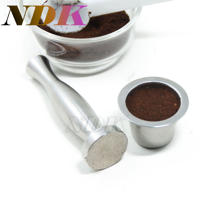 (1 cup+1 Tamper+120 seals) Stainless Steel Refillable Nespresso Coffee Capsule + Adhesive Seals+ tamper for Refilling capsule