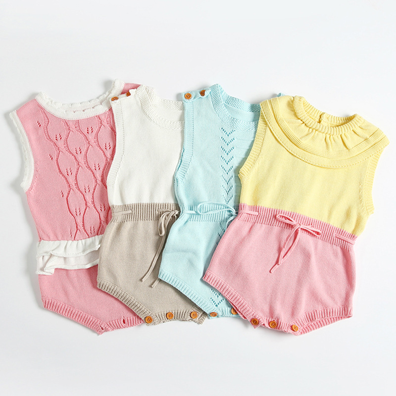 Newborn Baby Romper Clothes 2018 cute knitting Summer Sleeveless Infant Bebes Girls clothes Toddler Kids Jumpsuit Sunsuit infant toddler kids baby girls summer outfit cotton striped sleeveless tops dress floral short pants girls clothes sunsuit 0 4y