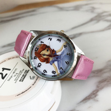 2017 Hot 3D long haired princess prince cartoon kids watches ladies men quartz watches kids leather watches student sports clock