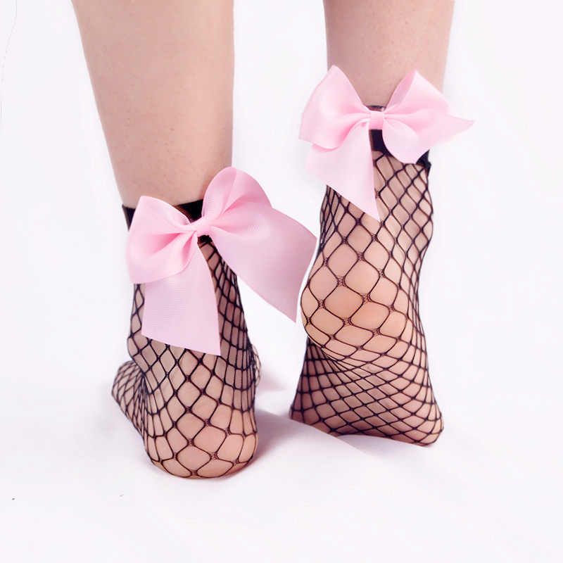 359ec671d1d 2pair lot cute bow decorating nylon sexy fishnet socks women youth girl over  ankle sock