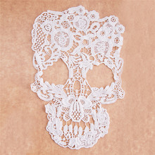 2016 New Lace 1pc Off White Punk Style Skull Pattern Floral Embroidery Lace Applique Motif  for Clothing DIY