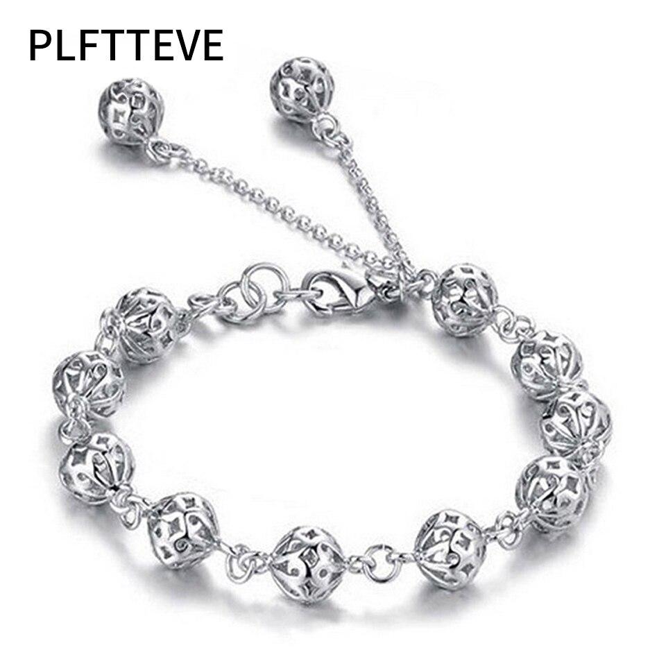 Hollow Balls Charm Bracelets For Women Girls Silver Color Alloy Strand Beads Female Bracelets Amp Bangles Fashion Jewelry Femme