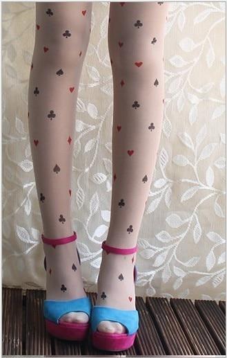 Princess harajuku style Sweet lolita pantyhose spunk romper Alice poker tattoo pantyhose for girls
