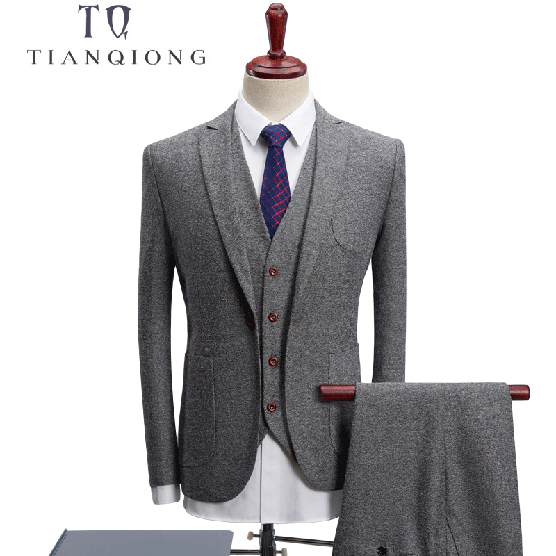 TIAN QIONG 2018 High Quality Men Dark Grey Tuxedo Men Suit 3 Pieces Mens Formal Suits Costume Homme Wedding Suits For Mens Suits