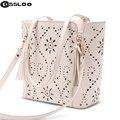 2016 designer handbag female PU leather hollow out bags handbags color gradient tassel bag ladies portable shoulder bag
