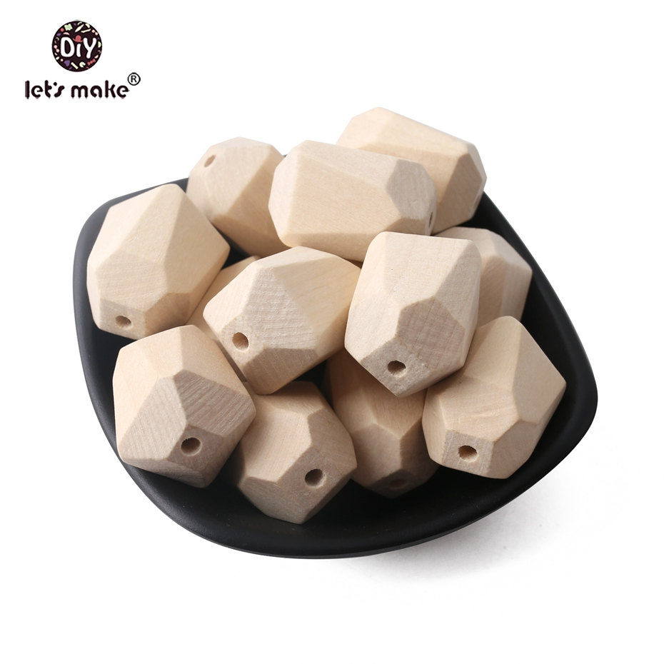 Let's Make 10pcs Maple Wooden Beads Teething Necklace Diy Accessories Polygon Irregular BPA Free Food Grade Wooden Teether