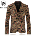 Fire Kirin Mens Floral Blazer Brand Slim Fit Velvet Blazer Men Vintage Prom Suits Casual Jaqueta Masculina Male Stage Wear Q63